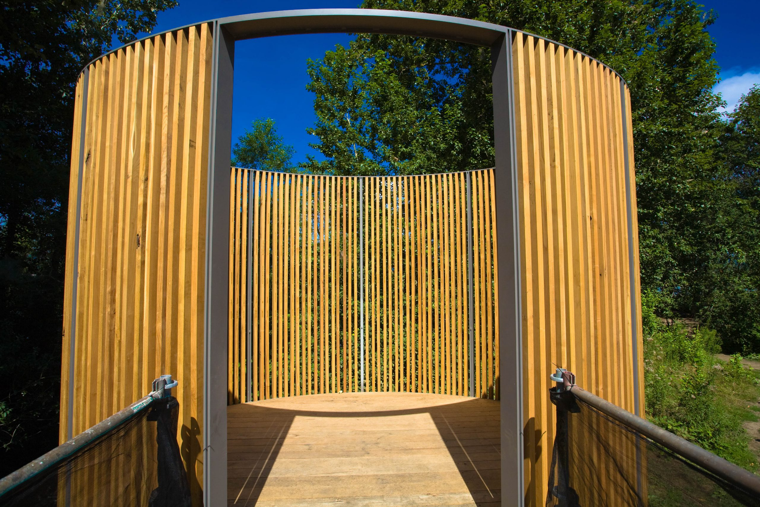 Maya Lin Interpretive Bird Blind at the Sandy Delta Confluence Park by Troutdale Oregon on the Columbia River Gorge National Scenic Area. Photo found on Flickr, https://www.flickr.com/photos/forestservicenw/.