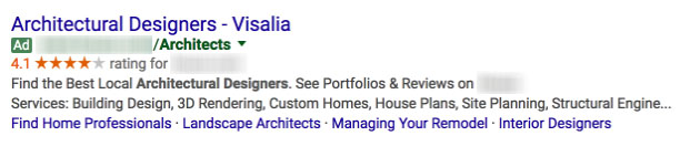 google search for architectural designers in visalia (example of Architecture Firm Marketing)